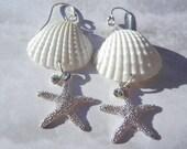 Silver Star Seashell Starfish Crystal Mermaid Earrings -  Flash of Light