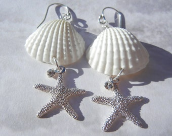 Silver Star Seashell Starfish Crystal Mermaid Earrings -  Flash of Light