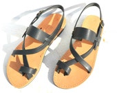 Handmade Roman Grecian leather sandals in black