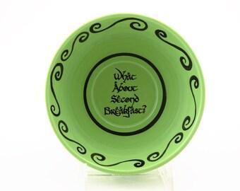 The Hobbit second breakfast cereal bowl LOTR Tolkien inspired ceramic bowl