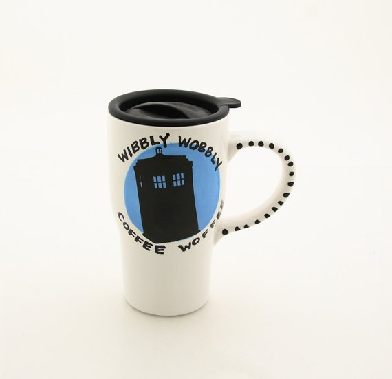 Doctor Who Tardis Travel Mug Wibbly Wobbly Coffee Woffee