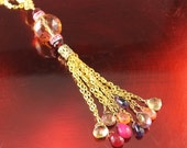 The Lisette Gold Chain Tassle Handmade Necklace w Amethyst, Citrine, Hot Pink and Violet, Carnelian, Briolettes, Apricot Faceted Crystal