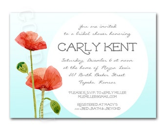 Bridal shower invitation, red and blue poppy baby shower invitation, printable digital DIY wedding