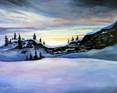 Winter Sunset in Yosemite, Landscape Painting - Photo Print on Paper