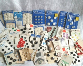 Large Lot of Vintage Buttons on Cards