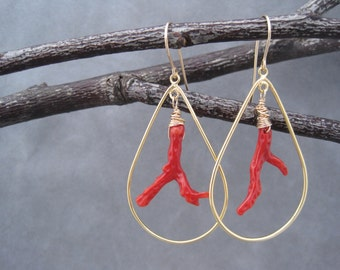 Red Coral Earrings - Branch Coral - Gold Hoops - Red Drop Earrings - Dangles - The Perfect Color Red - Fun - Red and Gold Dangles