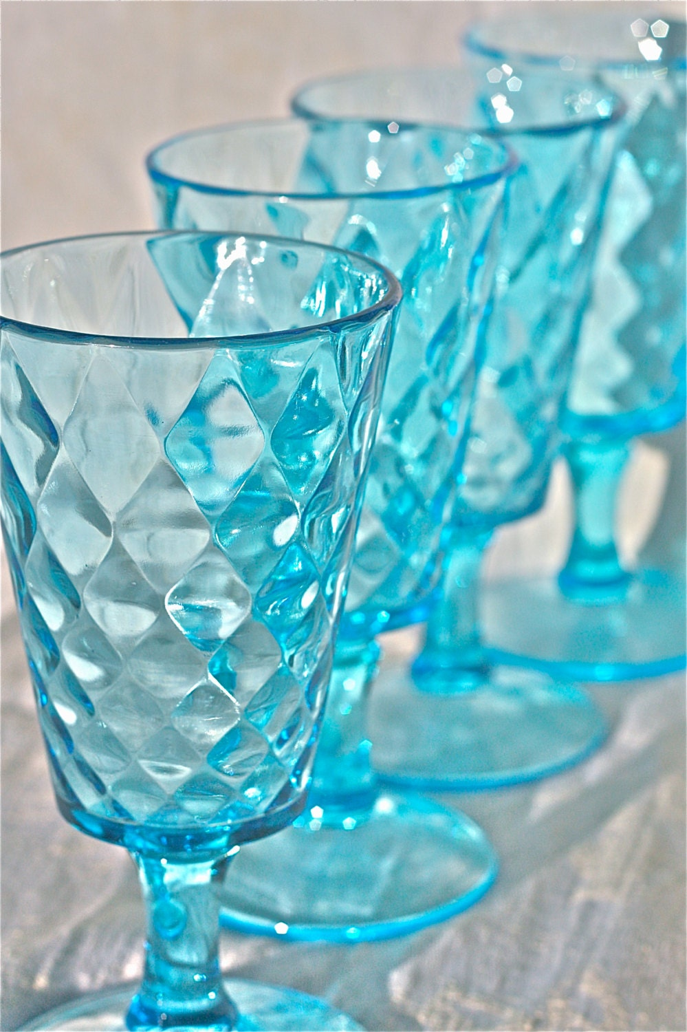 Aquamarine depression glass quilted diamond pattern-water