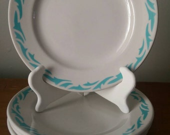 Set of 4 Vintage Vandesca Restaurant Plates Turquoise and Cream