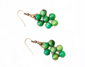Jade Juliana Acai Earrings / FREE SHIPPING / Fair Trade Made in Brazil from Natural Acai Beads ACE-004