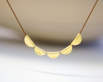 Solid Gold Simple Necklace Fine Jewelry Luxurious Silk Cord Gold Chain Special Gift for Her Wife Mother Daughter Special Occasion Wedding