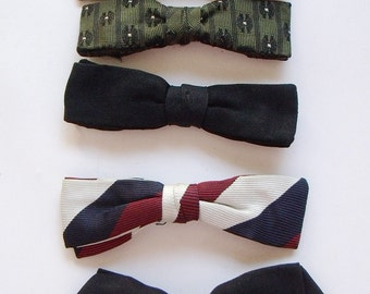 7 Vintage Narrow Clip On Nerdy Bowties Assorted Colours