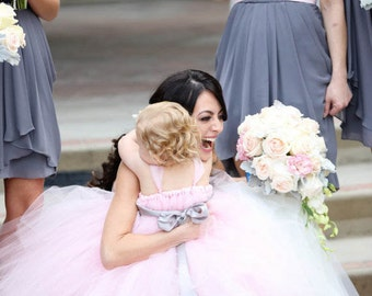 Light Pink Flower Girl Tutu Dress with Silver Sash