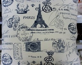 Navy French Pillow Cover - Paris Decor