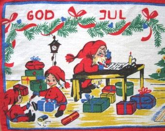 Vintage Christmas Swedish Table Runner Santa Elves Mrs. Claus BUHLER Gift for Mom