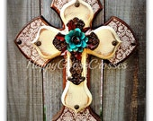Wall Cross - Wood Cross - X-Small - Brown Damask, Antiqued Beige, with iron cross and iron turquoise rose