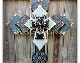 Wall CROSS - Wood Cross - Large - Gray Shades, Black, with Black and Gray Damask