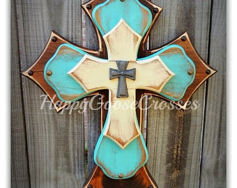 Wall Cross - Wood Cross - Medium - Brown Stain, Antiqued Turquoise and Beige