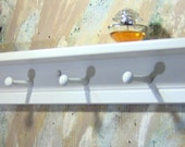 White Contemporary Design Wooden shelf knik knack  plates 6 pegs 32 inches to 36 inches