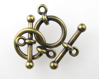 TierraCast Antiqued Brass Ox Toggle Clasp Bar and Ring Anna Finding clp0082 (2)