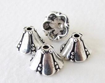TierraCast Antiqued Silver Ox Cone Bell Flower Bead Cap Medium bcp0078 (4)