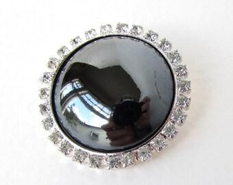 Vintage Rhinestone Button Crystal Silver Jet Black Glass Metal Shank Czech Large 33mm but0273 (1)