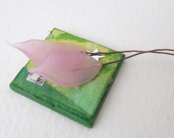Vintage Venetian Glass Bead Leaf on Wire Rose Pink Headpin vgb0787 (2)