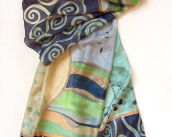 Silk Shawl- Green Spirals/ Hand painted silk scarf/ Decorative Scarf. Purple green Scarf. Silk Habotai/ luxury gift / Christmas gift woman