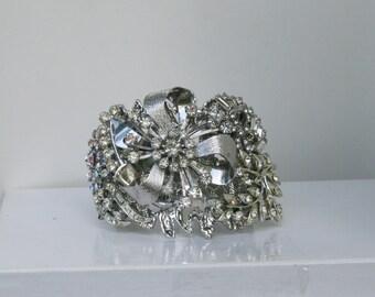 Silver Clear Rhinestone Vintage Brooch Bridal Cuff Bracelet