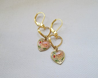 Gold Pink Flowers Vintage Charm Heart Dangle Earrings