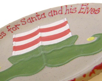 Elf Shoes Cookies for Santa Plate & MUG - Personalized Christmas Eve Elf Treats Set - Santa Cookie Plate and Mug - Elf Snack Plate and Cup