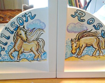Kids Bookends Horses In Water Handpainted Personalized