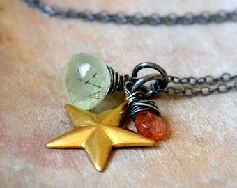 Prephnite, sunstone and sterling silver necklace, wire wrapped gemstone jewelry, brass star - The Universe