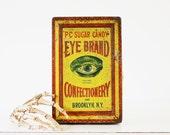 Eye Candy - Vintage Eye Brand Confectionery Tin - Brooklyn - New York - Advertising - Mustard - Yellow - Halloween - Autumn - Fall