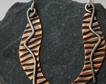 Mixed Metal Earrings, Embossed Copper and Sterling Silver Dangle Earrings