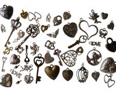 Craft Mix of Metal Charms with Love Theme