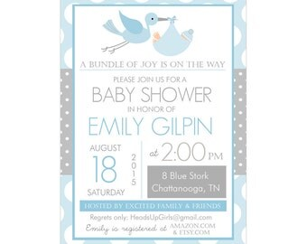 Personalized Blue and Gray Stork Delivery Baby Shower Invitations and Envelopes One Dozen Printed NV041