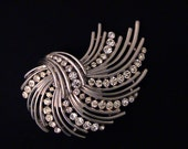 Vintage TRIFARI Silver and Crystal Rhinestone Brooch