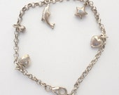 """Petite Sterling Silver Charm Bracelet w/ Hearts,Star,Ring and Dolphin 7"""""""