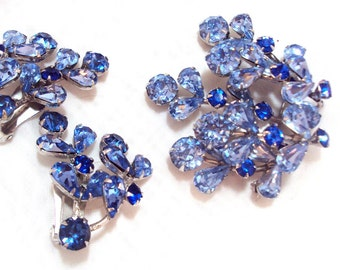 Vintage Blue Rhinestone Pin and Earrings by Weiss