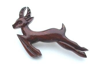 Antique Rustic Wood Reindeer Running Deer Pin Carving Handmade Jewelry