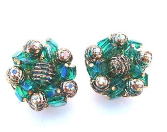 Designer ALICE CAVINESS Beaded Cluster Earrings, Signed Blue Emerald Green Aurora Borealis Vintage Jewelry