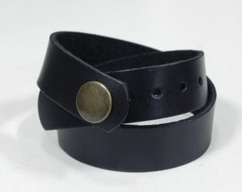 Black Leather Wrap Bracelet Leather Cuff Leather Bracelet