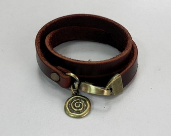 Leather Bracelet Women Bracelet Leather Cuff Bracelet Leather Charm bracelet in Brown Color with Metal Spiral Coin Charm
