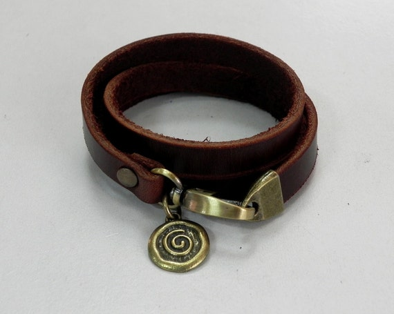Leather Bracelet Women Bracelet Leather Cuff Bracelet Leather Charm bracelet in Brown Color with Metal Spiral Coin Charm