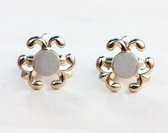 Round Gold Cuff Links