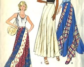 Vintage1970s Butterick 3557 Misses Bias Swirl Maxi Skirt Sewing Pattern Size Waist 25
