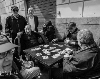 The Card Game Fine Art Photography Black and White Game Room Decor Fun Old Italian Men Large Wall art  Card table Italy Sicily street photo