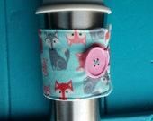 Coffee Tea Cozy Pink Blue Fox
