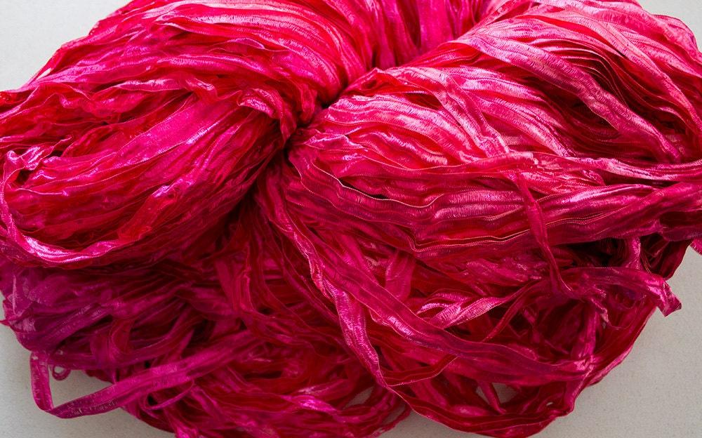 Nylon Knitting Ribbon : Party hand dyed ribbon yarn soft lt red tonal nylon