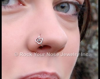 Tribal Triangle Sterling Silver Seamless Nose Ring / Silver Nose Ring / Tribal Jewelery / Funky Nose Stud / Unique Nose Ring - CUSTOMIZE